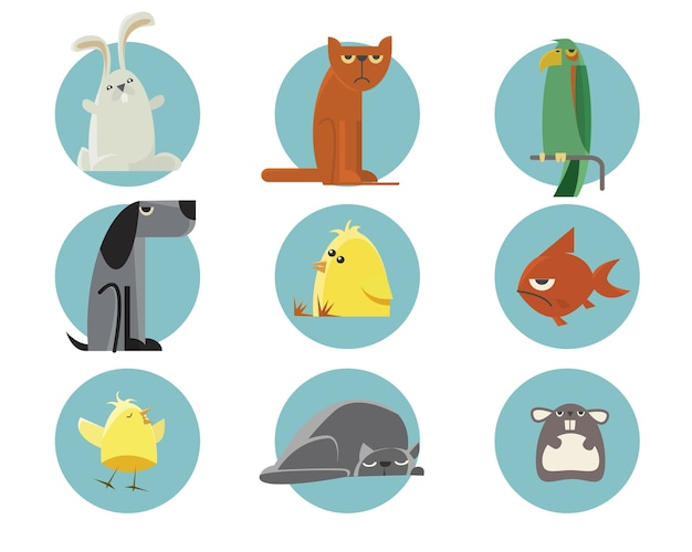 Set of vector illustrated animals. for free design