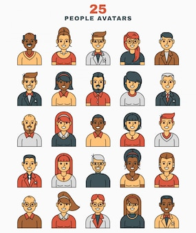Set of vector illustration  a flat avatars icons
