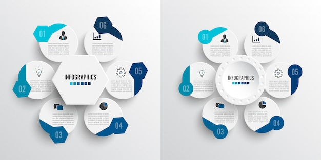Set vector illustration infographics 6 options.