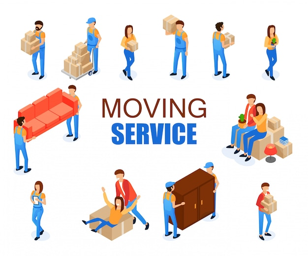 Set vector illustration moving service cartoon.