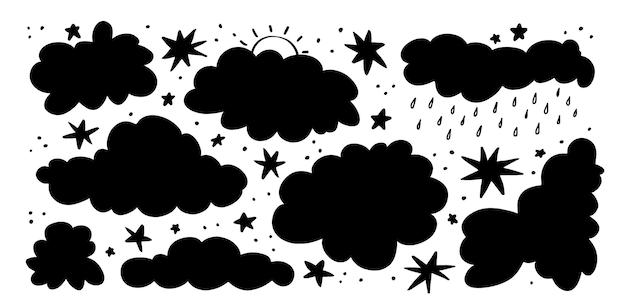 白い背景の上の雲と星の手描きのシルエットのベクトルイラストを設定します。