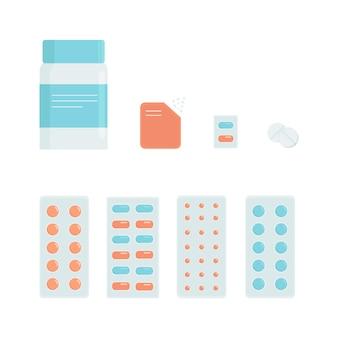 Установите векторные иллюстрации медицинских препаратов. современный плоский стиль.