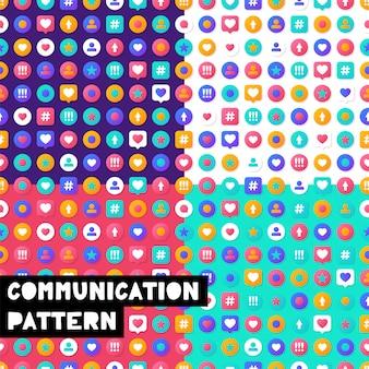 Set vector illustration seamless pattern social media communication