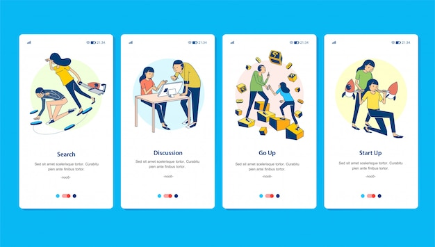 Set vector illustration of start up process from searching, discussion, and growth to be a big company