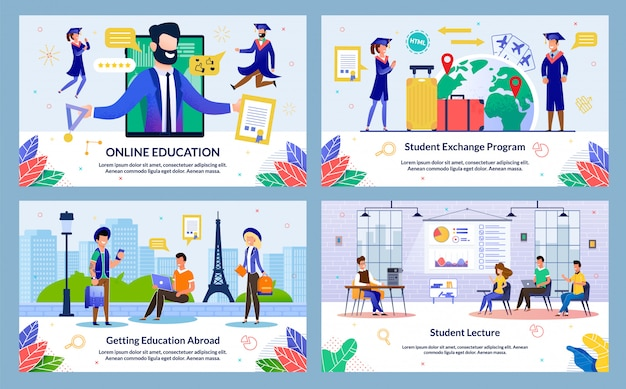 Set vector illustration student lecture, slide.