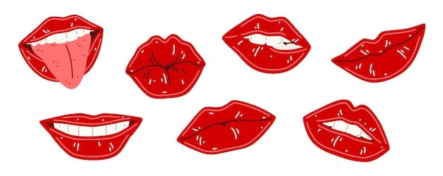Set of vector illustration of woman's lips isolated on white background. red lips collection