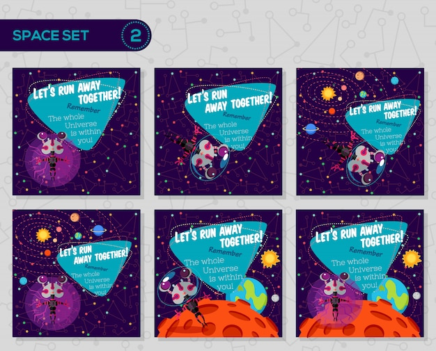Set of vector illustrations about outer space.