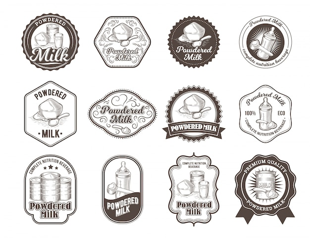 Set of vector illustrations of badges of dry milk.