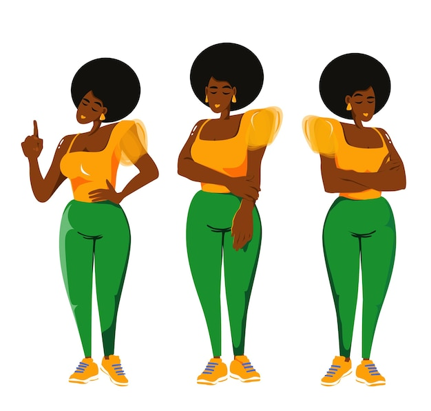 Set of vector illustrations of beautiful plus size women in a asymmetrical top and green trousers
