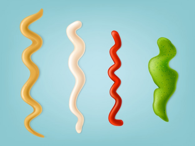 Set of vector illustrations, color icons of spilled strips of different sauces.