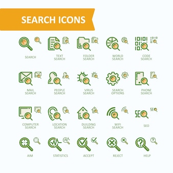 Set of vector illustrations fine line icons of analysis, search of information. 32x32 and 16x16 pixel perfect