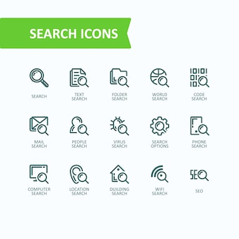 Set of vector illustrations fine line icons of analysis, search of information. 32x32 pixel perfect