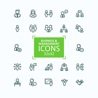 Set of vector illustrations fine line icons, collection of business people icons, personnel management