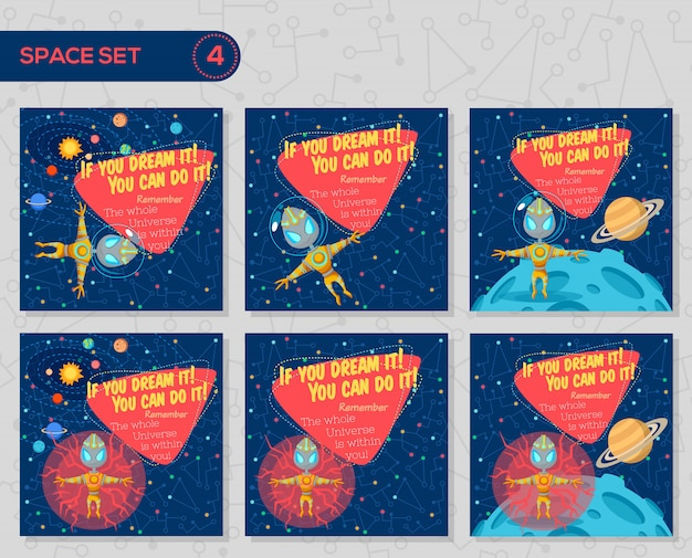 Set of vector illustrations in flat style about outer space.