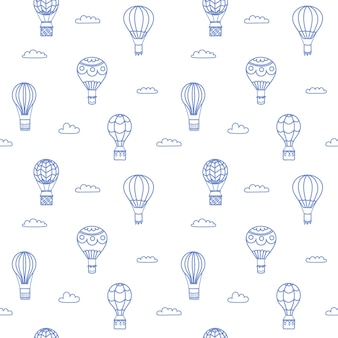 Set of vector illustrations of outline hot air balloon on sky