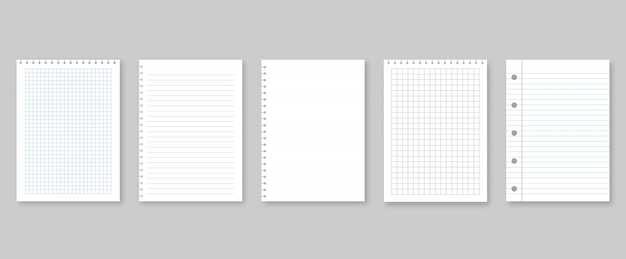 Set of vector illustrations sheets paper. lined and square