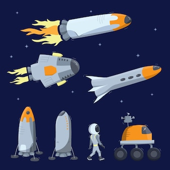 Set of vector illustrations of space ship, rocket, rover. doodle cartoon vector icons.