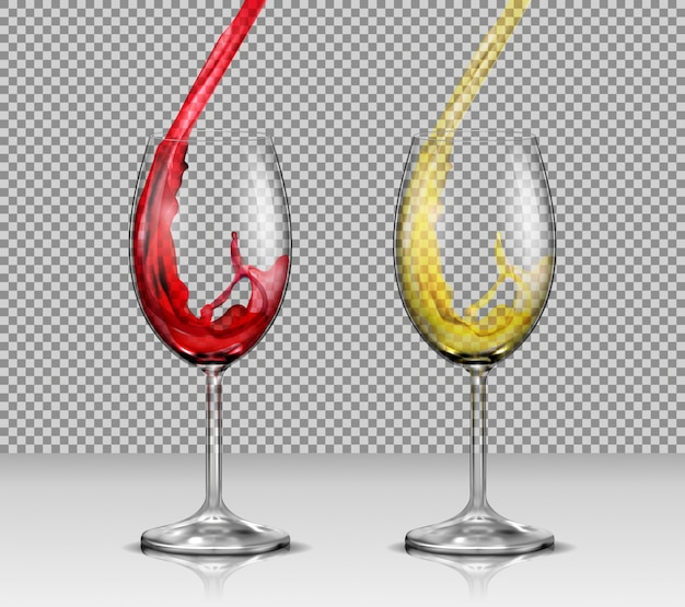 Set of vector illustrations of transparent glass wine glasses with white and red wine pouring in them