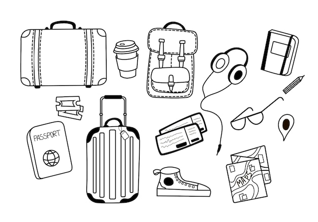 Set of vector illustrations for travel with suitcasesheadphones a cup of coffee glasses sneakers