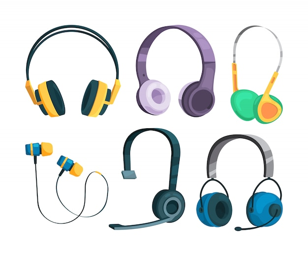 Set vector illustrations of various headphones
