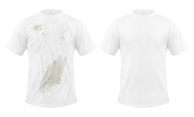 Set of vector illustrations of a white t-shirt with a dirty stain and clean, before and after dry cleaning