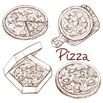 Set of vector illustrations whole pizza and slice, pizza on a wooden board, pizza in a box for delivery.