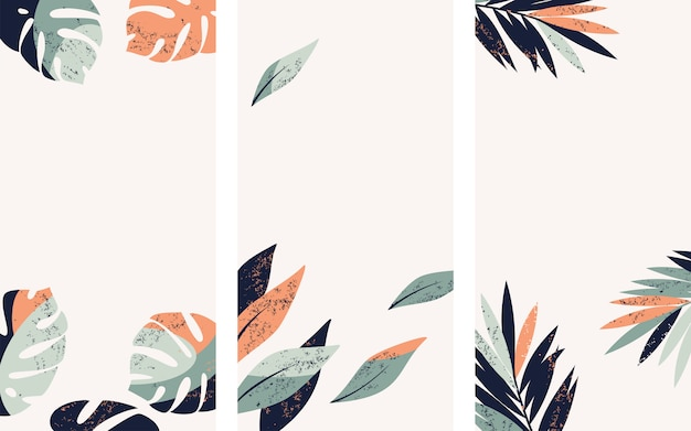 Set of vector illustrations with tropical leaves for instagram story