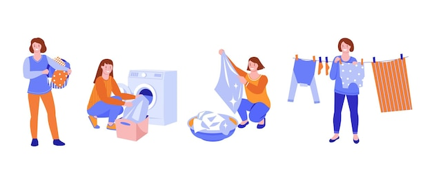 Set of vector illustrations. a young woman washes and dries clothes. flat style. isolated on a white background.