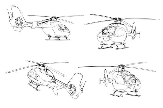 Set of vector images of modern civil light helicopter.
