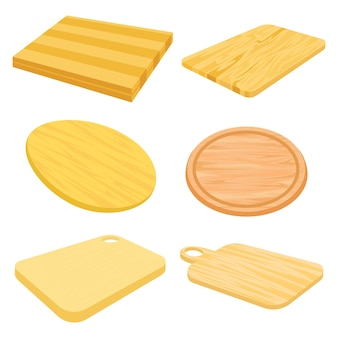 Set vector images of wooden cutting board.
