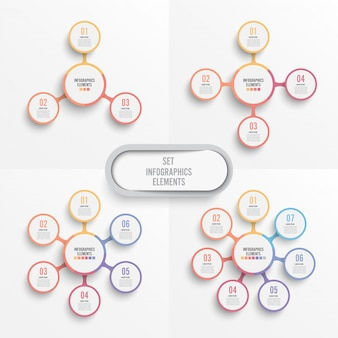 Set vector infographic template with 3d paper label