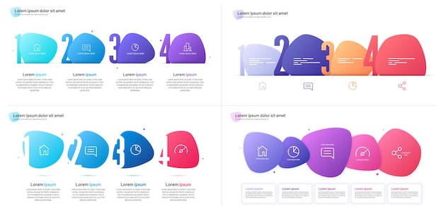 Set of vector infographic templates composed of four numbered abstract shapes.