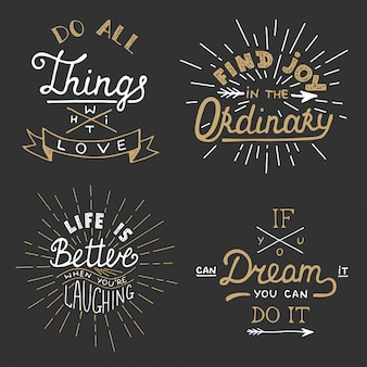 Set of vector inspirational lettering for posters.