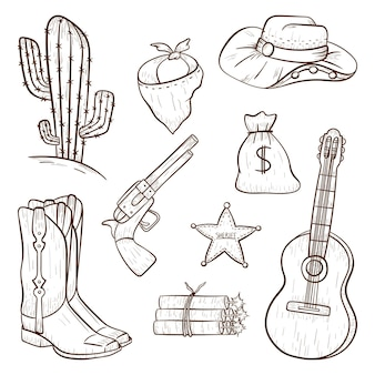 Set of vector isolated icons in country style. cowboy design elements in line art style. outline wild west print or decoration stickers.
