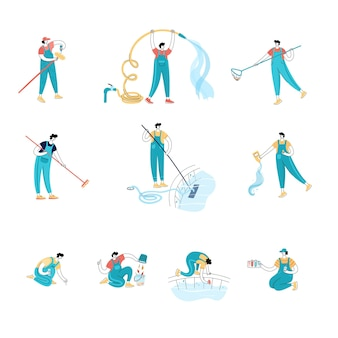 Set of vector isolated illustration of men cleaning a swimming pool with tools