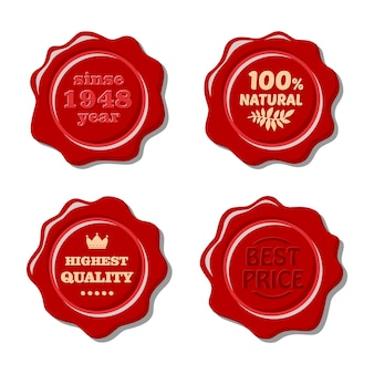 Set of vector isolated red wax stamp