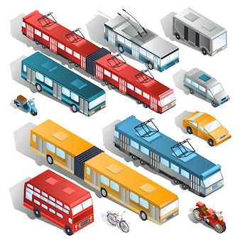 Set of vector isometric illustrations of municipal city transport