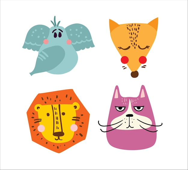 Set of vector kid's cards with simple design of cute animals