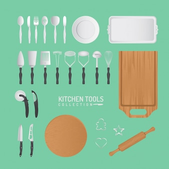 Set of vector kitchen tools and accessories