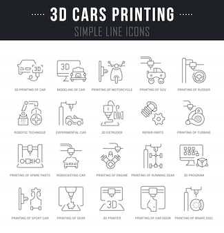 Set vector line icons of 3d cars printing.