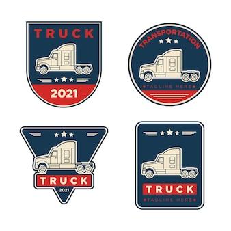 A set of vector logistics transport truck logos