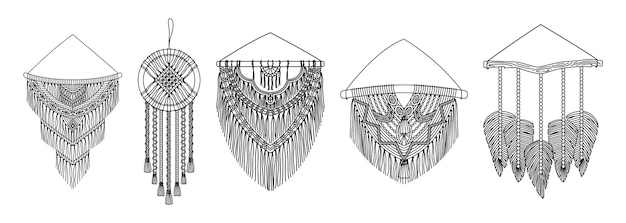 Set of vector macrame murals in boho style. line art