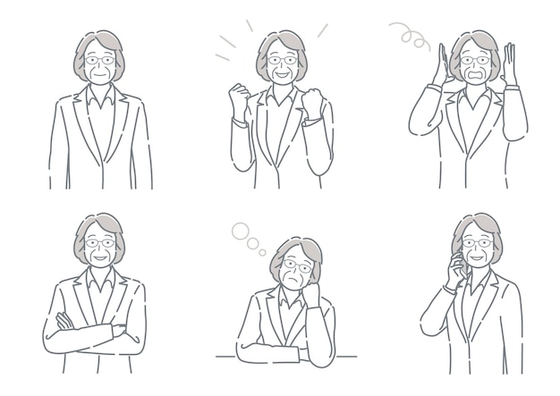 Set of vector middleage businesswoman with different poses expressing a variety of emotions