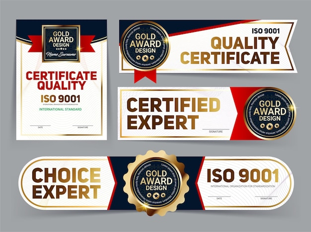Set of vector mini certificate quality banners with line protection and gold award emblem