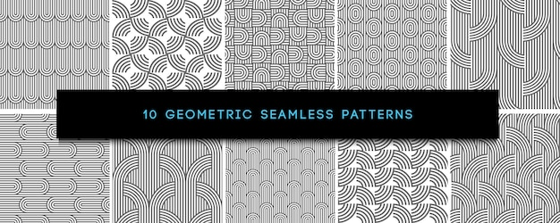Set of vector monochrome geometric seamless patterns
