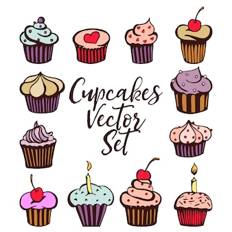 Set of vector muffins