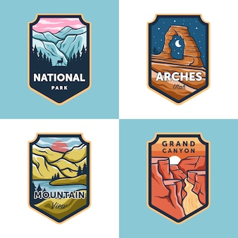 Set of vector national park outdoor badge