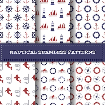 Set of vector nautical seamless patterns