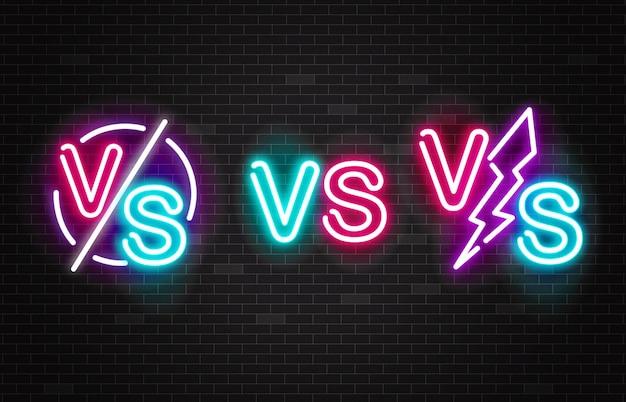 Set of vector neon glowing battles versus signs