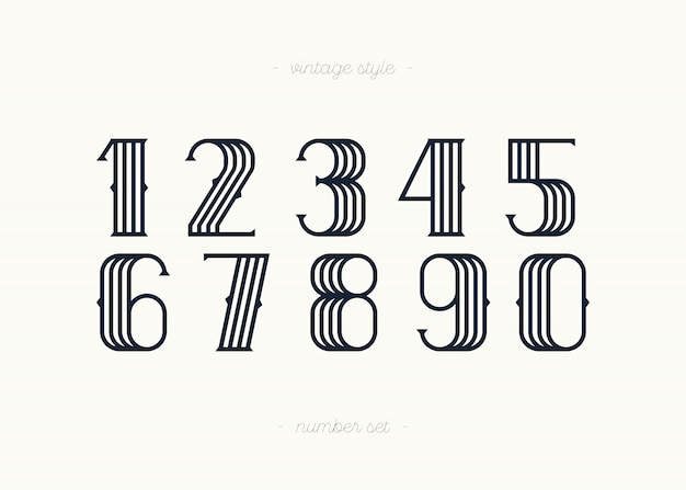 Set of vector numbers vintage style